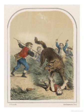 La Bete du Gevaudan Peasants Attack the Beast as It Stands Over Its Terrified Victim