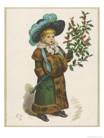 Girl in Fur-Trimmed Coat Fur Muff Gloves and Feathered Hat Carrying a Fair-Sized Branch of Holly