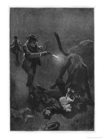 The Hound of the Baskervilles Holmes Shoots the Sinister Hound