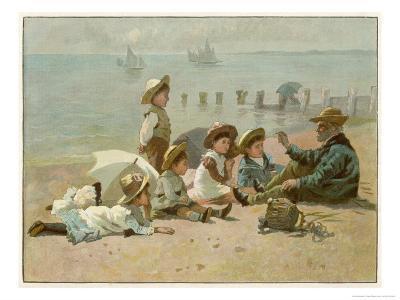 Children Sitting on the Beach Listening to Stories