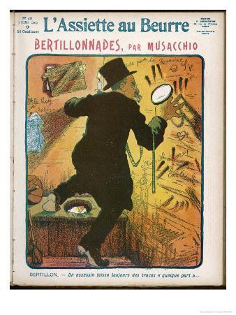 """Alphonse Bertillon French Criminologist a Satire on His """"System"""", Looking for Clues"""