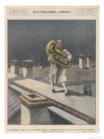 At Hettstadt Germany Joseph Furst a Member of the Municipal Band Marches Playing His Horn