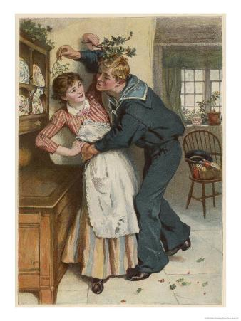 Naval Manoeuvres!, a Sailor and His Girl Under the Mistletoe