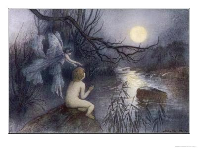 Tom Sits Upon a Rock Watching the Moonlight on the Rippling River