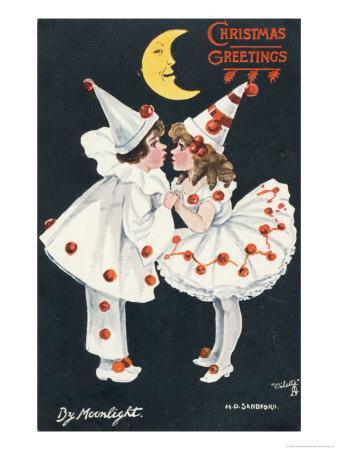 By Moonlight, Boy and Girl in Pierrot Costume Look at Each Other and Like What They See