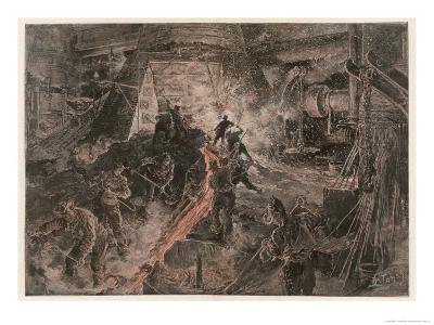 Ironworks at Birmingham, Tapping a Furnace and Running the Molten Metal into Pigs
