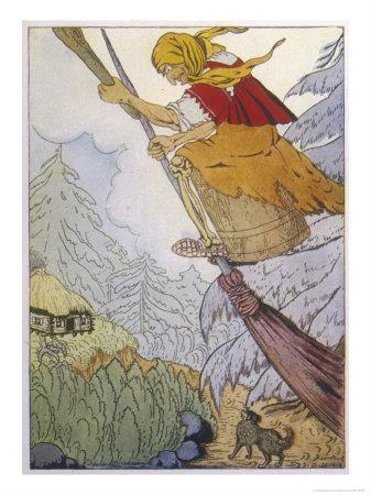 Baba Yaga the Witch There She was Beating with the Pestle and Sweeping with the Besom
