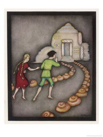 Hansel and Gretel Follow the Path up to the Witches House