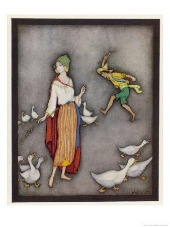 The Goose Girl Brings Her Geese into Line