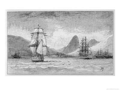 """Hms """"Beagle"""" the Ship in Which Charles Darwin Sailed Approaching Mauritius"""