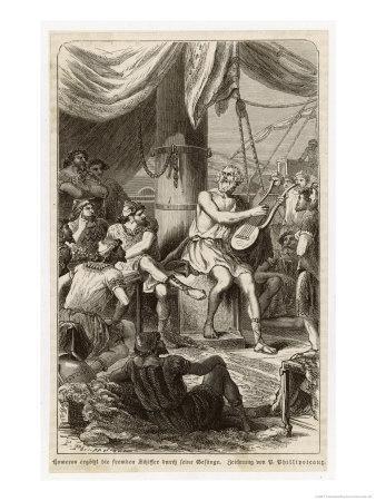 Homer Blind Greek Poet Singing to Sailors