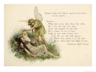 A Midsummer Night's Dream, Act II Scene II: Oberon Squeezes the Flower onto Titania's Eyelids