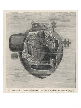 """Bushnell's """"Turtle"""" the First Submersible Craft to be Used in Action Attacking a British Ship"""