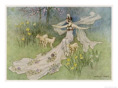 The Fairy Coquette, with Three Wolves Which She Has Just Transformed into Lambs