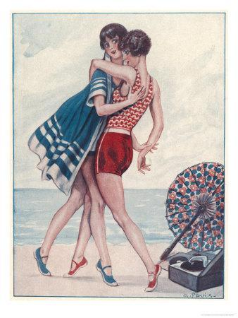 Two Midinettes Dance on the Sand to the Jazz-Music of Their Portable Gramophone