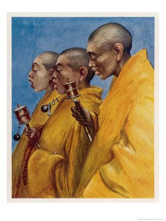"Tibetan ""Yellow Monks"" Using Prayer Wheels"