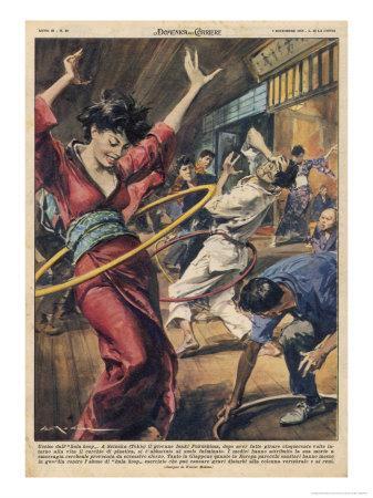 During the Hula-Hoop Craze Japanese Hooper Isaki Fukishima Injures His Back Fatally