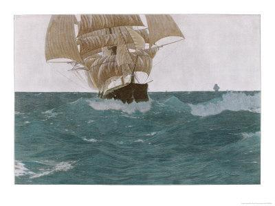 """""""Before the Wind"""", a Ship Sets Her Out-Riggers to Take Advantage of a Favorable Wind"""