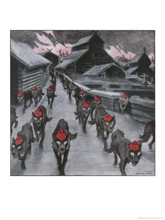 The Red Guard, the Communists Depicted as a Pack of Wolves Ravening with Glowing Eyes