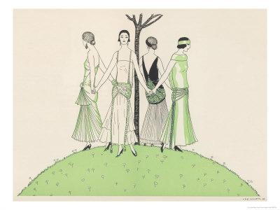 Four Ladies Holding Hands Wear Dresses Influenced by Ancient Egypt