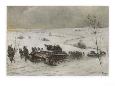 German Tank Column Accompanied by Infantry Advances into Russia