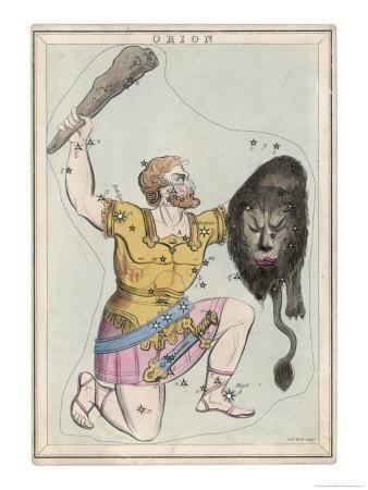 Orion Giant Hunter Clubbing a Lion