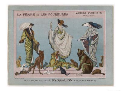 Women Model Fur Mantles Coats Shawls and Muffs and Pose with Various Animals