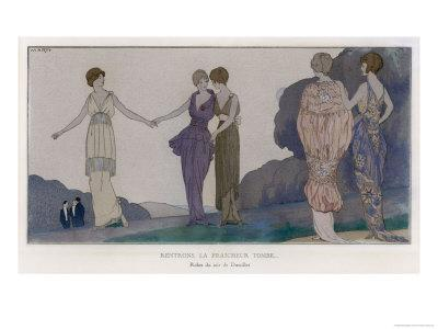 5 Elegant Evening Dresses by Doeuillet Seen by Moonlight, The Newly Fashionable Tunic or Overskirt