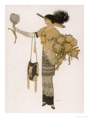 Silhouette of 1911: High Waisted Tunic Dress with Hobble Skirt and a V-Necked Corsage