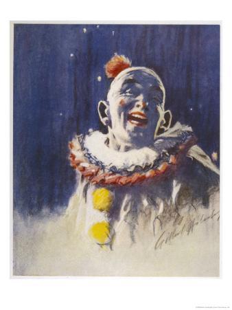 Portrait of a Laughing Clown in His Full Costume at Bertram Mills Circus