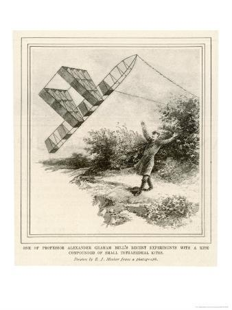 The Inventor Alexander Graham Bell Flying His Tetrahedral Kite