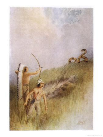 The Sioux War Chief Shoots an Arrow at the Monster Ratlesnake and Kills It