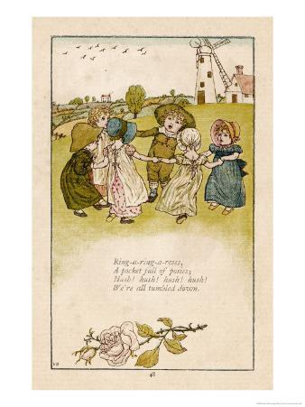 Six Children Dance in a Circle to Play Ring O' Roses