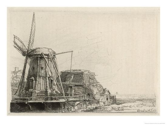 Somewhat Dilapidated Dutch Windmill Giclee Print By