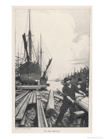 """""""The Old Shipyard"""", a Carpenter Shapes the Timbers of a Sailing Vessel"""
