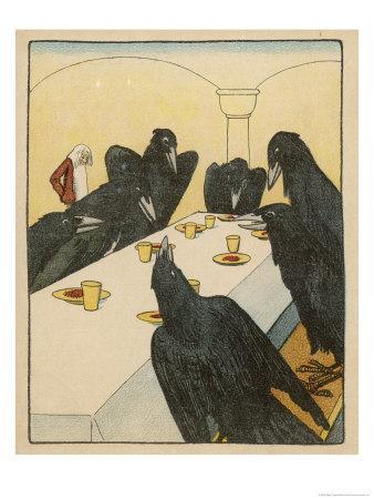 The Seven Ravens (Seven Brothers Transformed by a Wicked Spell) Sit at the Dinner Table