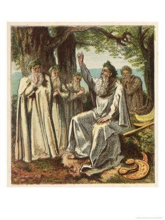 Druid Priests of Ancient Britain in Contemplative Mood in a Forest
