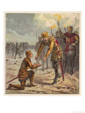 Edward the Black Prince Son of King Edward III Receives a Blessing from His Father