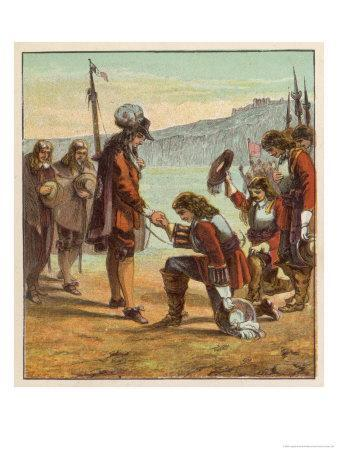 Charles II Lands at Dover and is Saluted as King of England by General Monk Who Kneels Before Him