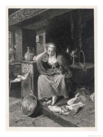 Cinderella Sits Forlornly Next to a Lamp and Cauldron