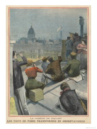 Parisians Gather on Their Rooftops to Observe Halley's Comet