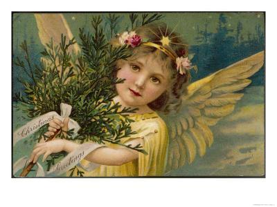 Christmas Angel Carrying an Armful of Ornamental Foliage