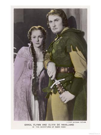 "Erroll Flynn as Robin and Olivia de Havilland as Maid Marian in ""The Adventures of Robin Hood"" 1938"