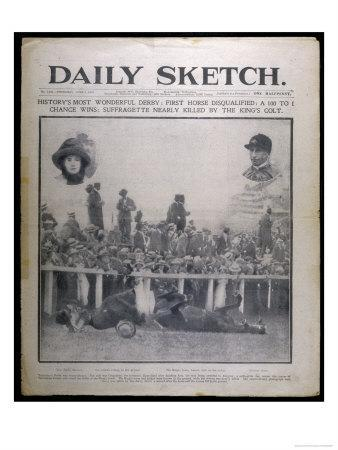Headline Showing the Collision Between Emily Davison and the King's Horse at the Epsom Derby