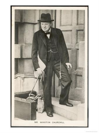 Winston Churchill British Statesman and Author Stands in a Doorway in 1940
