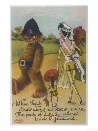 Teddy Bear Policeman Eyes Nurse, Who is Carrying Another Teddy
