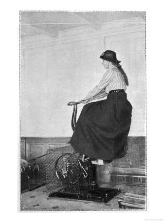 Girl on an Exercise Bike in the Gymnasium of the Titanic