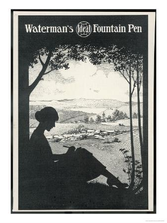 Advertisement for a Fountain Pen Featuring a Silhouette of a Woman Sitting Under a Tree Writing