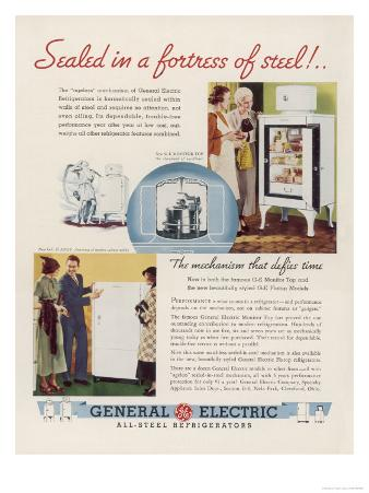 Advertisement for General Electric Refridgerator: Sealed in a Fortress of Steel!