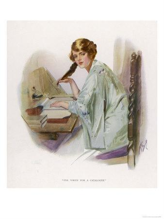 Lady Sits at Her Desk Writing with a Quill Pen